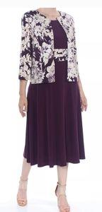 Jessica Howard Purple Gray and Beige Dress